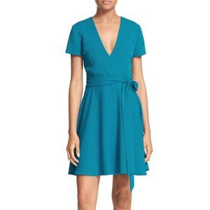 Alice and Olivia NEW faux wrap dress teal 6 belted
